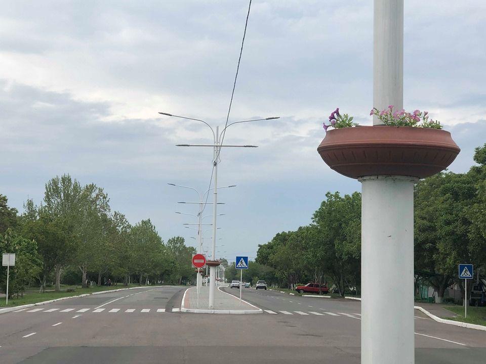В Измаиле на въезде в город в вазоны на опорах высадили цветы (ФОТО)